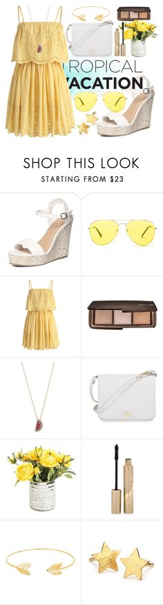 """""""#1🌞"""" by heremyworld ❤ liked on Polyvore featuring Dorothy Perkins, Sunny Rebel, Chicwish, Hourglass Cosmetics, Betsey Johnson, Furla, Stila, Lord & Taylor, Pernille Corydon and summeryellow"""
