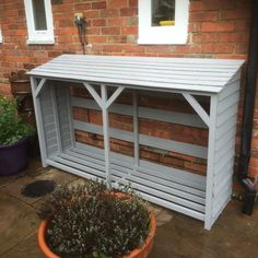 Just about everythings there is to know about shed plans boxes can be found here. Outdoor Firewood Rack, Firewood Shed, Firewood Storage, Outdoor Storage, Log Shed, Bike Shed, Outdoor Landscaping, Backyard Patio, Wood Storage Sheds