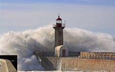 Lighthouse under the wave