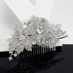 Vintage Wedding Bridal Silver Crystal Party Hair Piece Head Comb Accessories | eBay