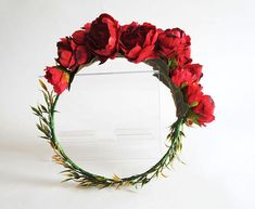 Silk Red Peony Flower Crown for Weddings, Bridal, Bridesmaids, Hens and Parties Peony Flower, Flowers, Red Peonies, Silk Touch, Flower Crowns, Red Silk, Hens, Hair Piece, Green Leaves