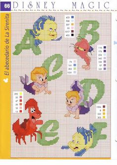 Winnie the Pooh and The Little Mermaid cross stitch letters (along with a few other alphabet options)