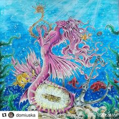 Wonderful colorful and dazzling colors @domiuska Siren for your MorphiaMay is finally done, Katrine First time using watersoluble pencils Need better brush and more practise of course @alwayscoloring . Mythomorphia Prismacolor & Polychromos & Koh-i-noor Mondeluz for background & white Posca and gel pen for detail #mythomorphia #kerbyrosanes #morphiamay #adultcoloringbook #coloringbook #coloring #coloriage #colouring #colouringforadults #bayan_boyan #artecomoterapia #arttherapy...