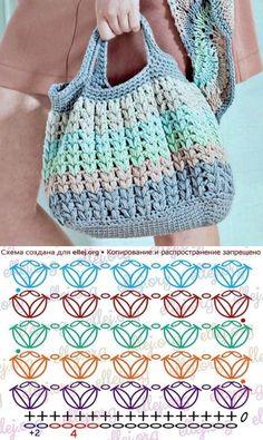 Escolha e copie: 18 Modelos de bolsa Summer Bag ⋆ De Frente Para O Mar - Taschen - Stricken Crochet Diagram, Crochet Shawl, Crochet Stitches, Knit Crochet, Knitting Patterns, Crochet Handbags, Crochet Purses, Crochet Gifts, Sewing