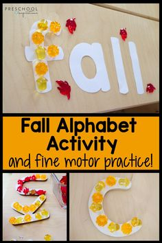 There are so many preschool skills learned in this fall fine motor activity! It promotes fine motor practice, literacy skills, and reinforces the letters in a child's name! Sometimes the simplest activities can be the best when it comes to teaching preschool. Preschool Names, Fall Preschool Activities, Fine Motor Activities For Kids, Preschool Writing, Toddler Learning Activities, Preschool Lessons, Alphabet Activities, Preschool Alphabet, Abc Alphabet