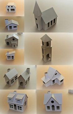 Glitter House Paint, Paper Houses, Cardboard Houses, Cardboard Playhouse, Diy Plaster, How To Make Glitter, House Template, Christmas Village Display, Putz Houses