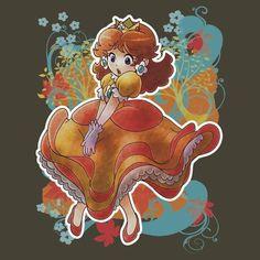 Princess Daisy T-shirt Princesa Daisy, Princesa Peach, Stardew Valley Fanart, Luigi And Daisy, Nintendo Princess, Mario Bros., Mario Kart, Daisy Art, Super Mario Art