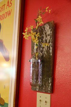 upcycled barnwood vase