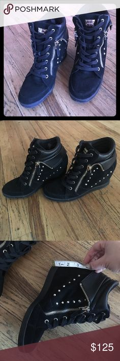 Guess Wedge Black Suede Sneakers Size 10 These gold studded, Guess, Wedge Black Suede Sneakers are lightly loved. Go with any outfit sport or classy. Very comfortable, with four inch wedge for some pep in your step. Size 10 Guess Shoes