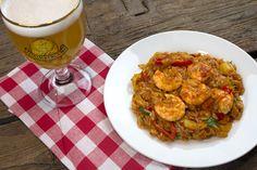 κριθαρότο με γαρίδες και grimbergen Ratatouille, Food And Drink, Pasta, Ethnic Recipes, Noodles, Ranch Pasta