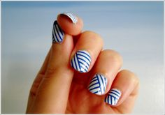 Candle and Wax Warmers Get Nails, How To Do Nails, Hair And Nails, Volleyball Nails, Mani Pedi, Manicure, Nautical Nails, Nautical Colors, Nautical Stripes