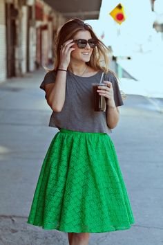 knee length alice + olivia green skirt