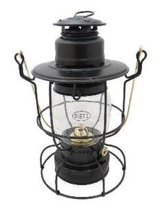 Dietz Watchman Railroad Oil Lantern Black with Gold Trim | Antique Lamp Supply