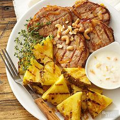 This super fast dinner is ready in 18 minutes. The grilled chops are livened up with a sweet and slightly tart sauce of yogurt and orange marmalade.