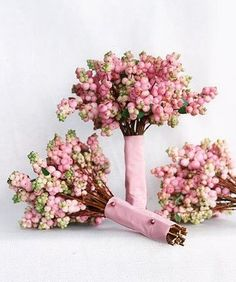 Winter Wedding- pink winterberry bouquet (change ribbon to white lace)