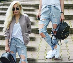 Ripped Jeans, Mom Jeans, Jacket Style, Casual, Pants, Jackets, Fashion, Tattered Jeans, Trouser Pants