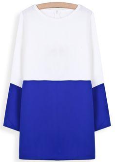 White Contrast Blue Long Sleeve Straight Dress - Sheinside.com