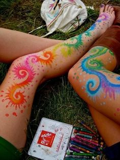 Get covered in temporary tattoos drawn with watercolor crayons. | The Ultimate Summer Bucket List For Bored Kids