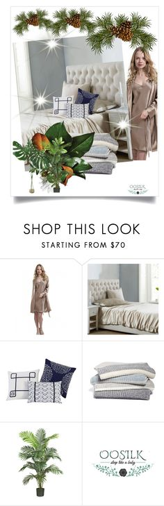 """""""Oosilk-bedding 20"""" by azrahadzic on Polyvore featuring interior, interiors, interior design, home, home decor, interior decorating, VCNY, Barefoot Dreams and Nearly Natural"""