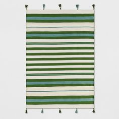 Teal Green Striped Tasseled Woven Rug - Opalhouse™ : Target