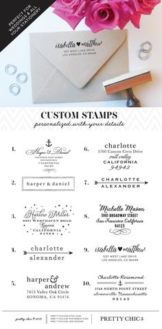 Customizable Stamps. Perfect for all your wedding and social stationery. Shop at Pretty Chic SF