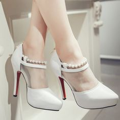 Elegant Women's Pumps With Beading and Splicing Design