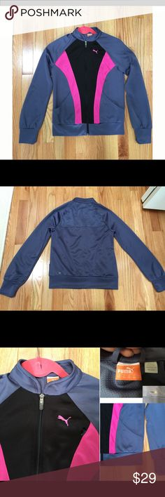 """Puma - Athletic Jacket, XS/S, Worn once Puma – Athletic Jacket, sz XS/S, Worn once The jacket is in brand new condition without stains, marks or defects, it was worn once. Please see attached pictures.   - color: blue/gray, pink, black - 2 front functional pockets - size: XS/S (~16.5"""" from pit to pit; ~14"""" from pit to hem) - nice detailing - 100% polyester Comes from a smoke free home THANK YOU FOR LOOKING!   I'm cleaning out my closet and I will be listing more items Puma Jackets & Coats"""