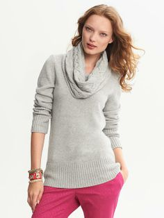 Banana Republic | Cable-Knit Cowl-Neck Pullover