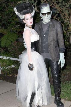 Kate Beckinsale with husband Len Wiseman in Los Angeles, on October 31, 2010 dressed as Frankenstein and his bride. - ELLE.com