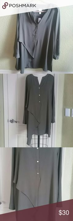 Chico's army green tunic Size 2 (L) NWT long shirt with very cool asymmetric overlapping on on side. Chico's Tops Tunics