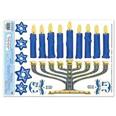 Party Supplies | Hanukkah Decorations | Hanukkah Clings...Decorate for Hanukkah with these festive Hanukkah Activity Peel 'N Place! These clings will make perfect decorations at your work, office or school. Everyone will love seeing Stars of David, dreidels and the menorah decorating every window.