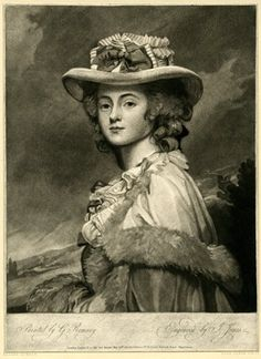 Portrait of Mrs Davenport standing half-length in profile to left, head turned to face front, wearing fur-trimmed cape and hat with ribbon, landscape behind.  29 May 1784 Mezzotint