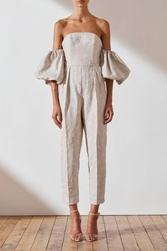 Margot Embroidered Linen Bustier Jumpsuit | Natural | Jumpsuits | Shona Joy – Shona Joy International