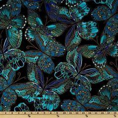 Butterflies cotton dress fabric