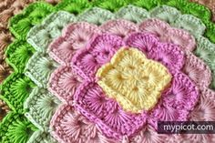 MyPicot | Free crochet patterns Crochet Box stitch for Square blanket Diagram + step by step instructions