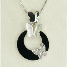 Amazon.com: Beautiful butterfly necklace and earrings set From Korea with White mother of Pearl, Swarovski crystal and black onyx. Free storage box: Office Products