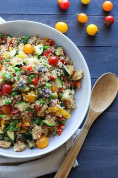 Market quinoa salad with fresh mozzarella . Hearty and packed with Summertime freshness!