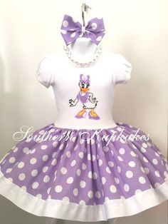 Disney Inspired DAISY DUCK CUSTOM Twirl Dress Birthday BOUTiQUE Pageant Party All Sizes All Ages Vacation Disneyland World Polka dots by SouthernKupkakes on Etsy