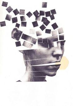 In this image, I can see a woman's face has been cut and as it reaches the top of her head, the pieces start to fly away and scatter. This would have been done using scissors and maybe glue to keep each piece in place -over all, this image has been photographed (the woman's face), created, and then photographed again.
