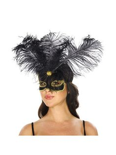 Black-and-Gold-Venetian-Mask-with-Feathers