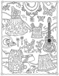 colorir coloring coloriage Garden Party ~ Fanciful Fashions by Marjorie Sarnat Free Adult Coloring, Adult Coloring Book Pages, Coloring Pages To Print, Free Coloring Pages, Printable Coloring Pages, Coloring For Kids, Coloring Sheets, Coloring Books, Colorful Drawings