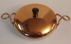 "Vintage TACUCO Hallite Wear-Ever Copper Lid Twisted Handles Aluminum 9 1/2"" Pan"