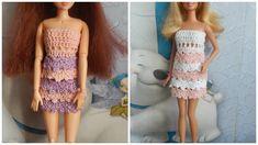 Одежда для кукол крючком. Платье с рюшами.