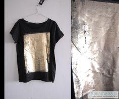 bluzki - t-shirty - damskie-/ gold / black/oversize
