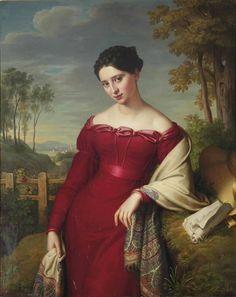 """Eduard Friedrich Leybold (1798- 1879 )- австрийский художник """"Портрет молодой дамы"""", 1824 ."""
