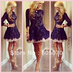 Custom Made Sexy Black/Blue Lace Short Cocktail Dresses Long Sleeves 2014 Prom Party Dresses Satin       US $119.00 / piece   Discount Price:     US $95.20 / piece     1 day left
