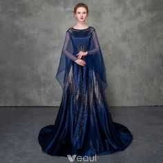 Luxury / Gorgeous Royal Blue Pierced Evening Dresses Detachable With Shawl 2018 A-Line / Princess Scoop Neck Cap Sleeves Glitter Rhinestone Court Train Ruffle Formal Dresses Evening Dresses, Prom Dresses, Formal Dresses, Blue Dresses, Beautiful Gowns, Beautiful Outfits, Pretty Outfits, Pretty Dresses, Fantasy Gowns