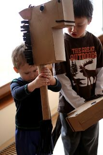 cardboard box horses - a kids craft for hours of fun!