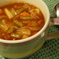 Under 50 calories Cabbage Soup by JayAnna Byrd. This is a smaller version of the Peel-A-Pound Soup. But looks like a great way to use the Cabbages from Mom's garden this year.