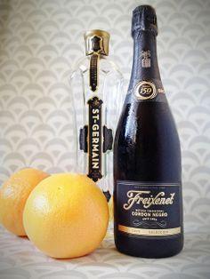 Champagne w Grapefruit-Elderflower Sorbet - full recipe from Fabric Paper Glue